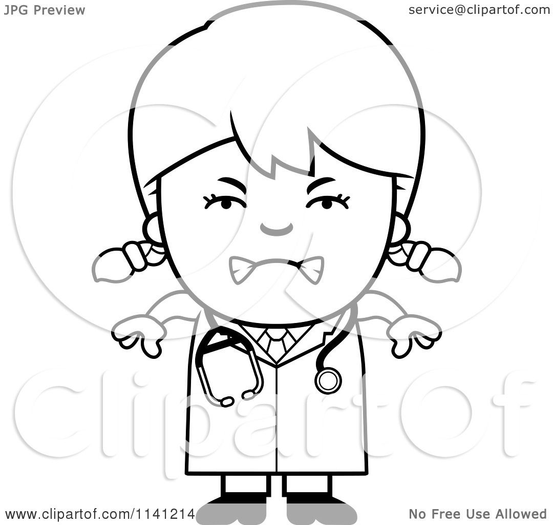 1080x1024 Cartoon Clipart Of A Black And White Angry Doctor Or Veterinarian