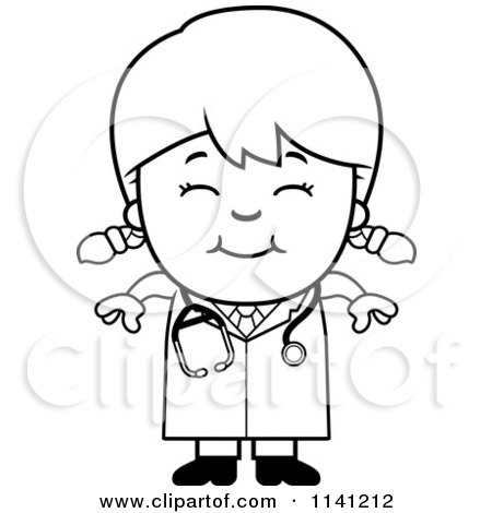 450x470 Cartoon Clipart Of A Black And White Happy Doctor Or Veterinarian