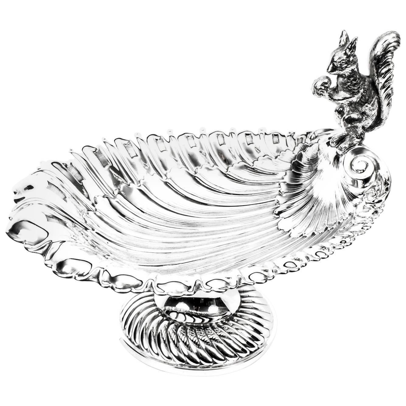 1335x1335 Antique Victorian Silver Plated Squirrel Nut Dish, Circa 1900