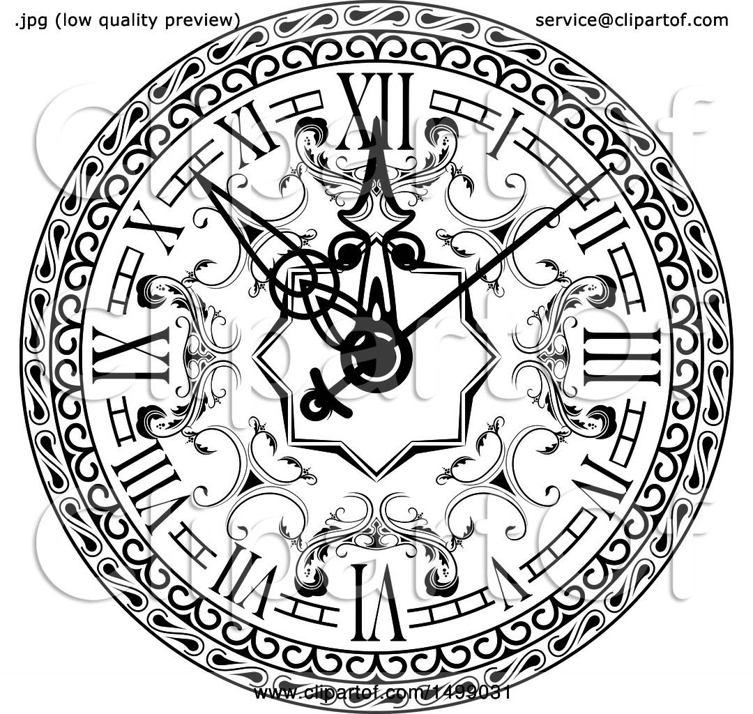 1080x1024 Clipart Of A Black And White Vintage Clock Face