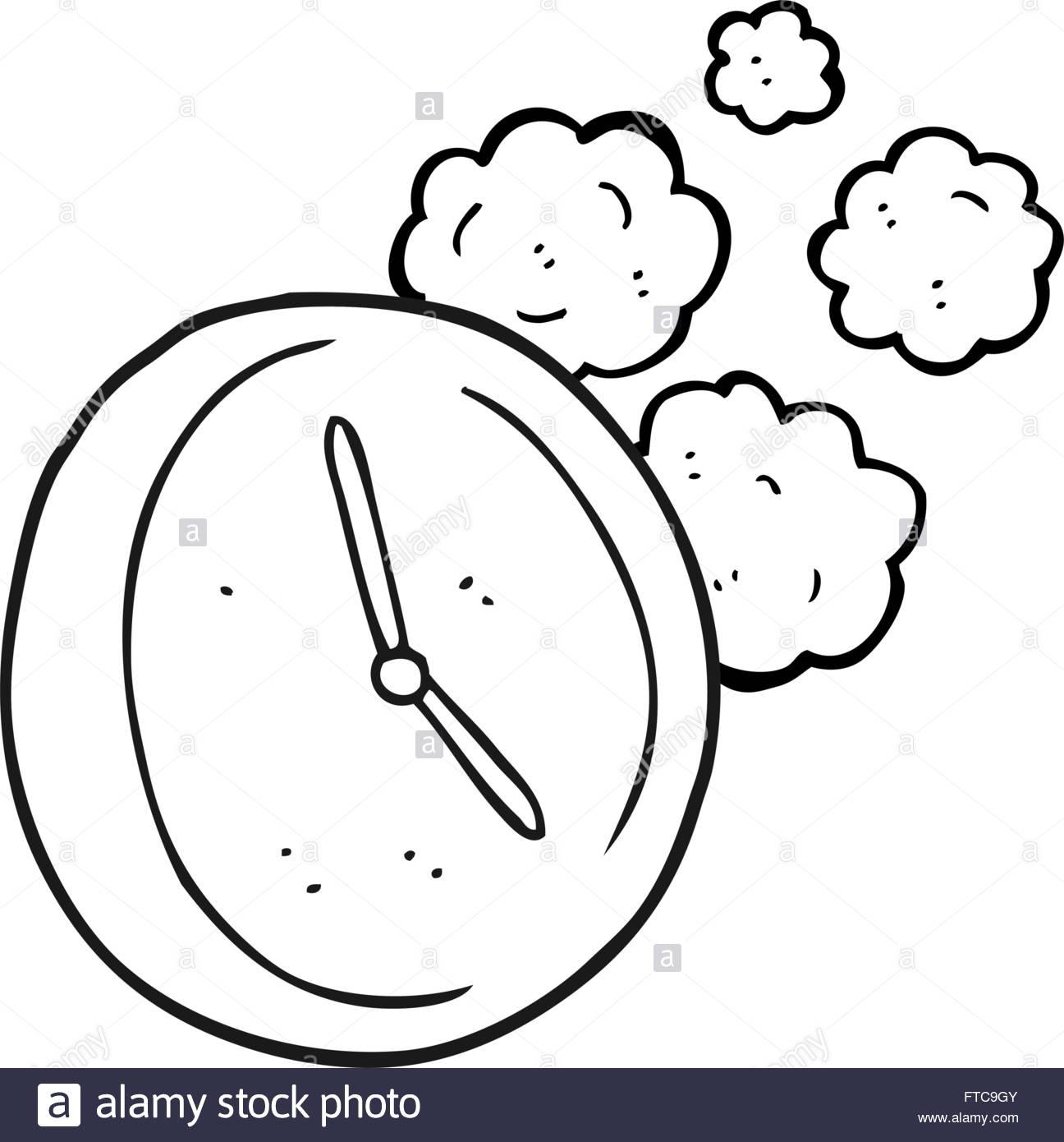 1296x1390 Drawn Clock Black And White