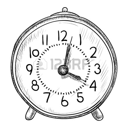 450x450 Vector Sketch Of Clock. Hand Draw Illustration. Royalty Free