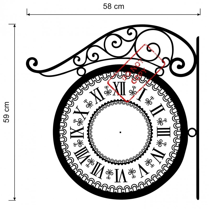 800x800 Wall Clock Wall Decal With True Mechanism Clock Victorian Style