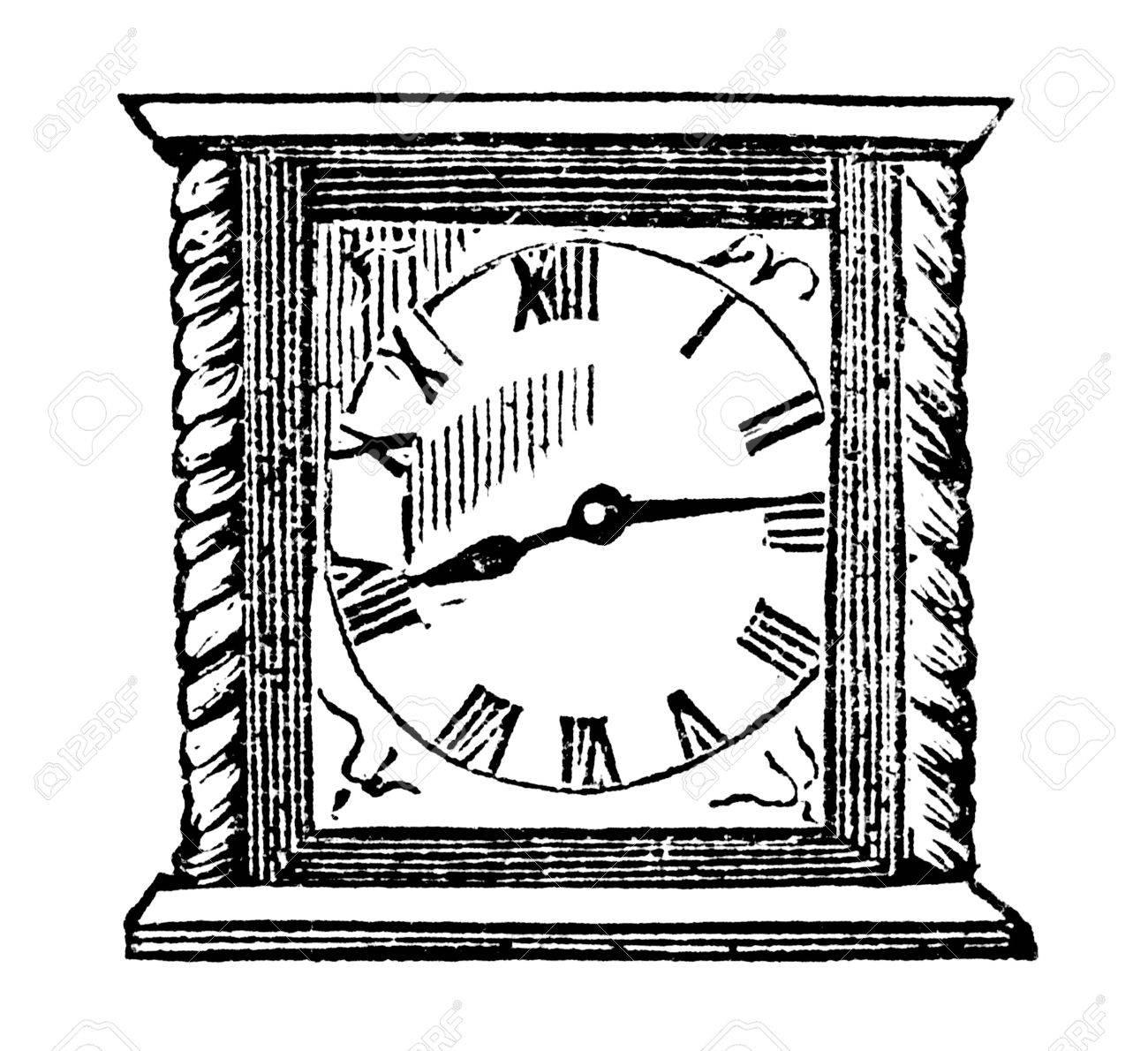 1300x1190n Engraved Vintage Illustration Image Of Clock,