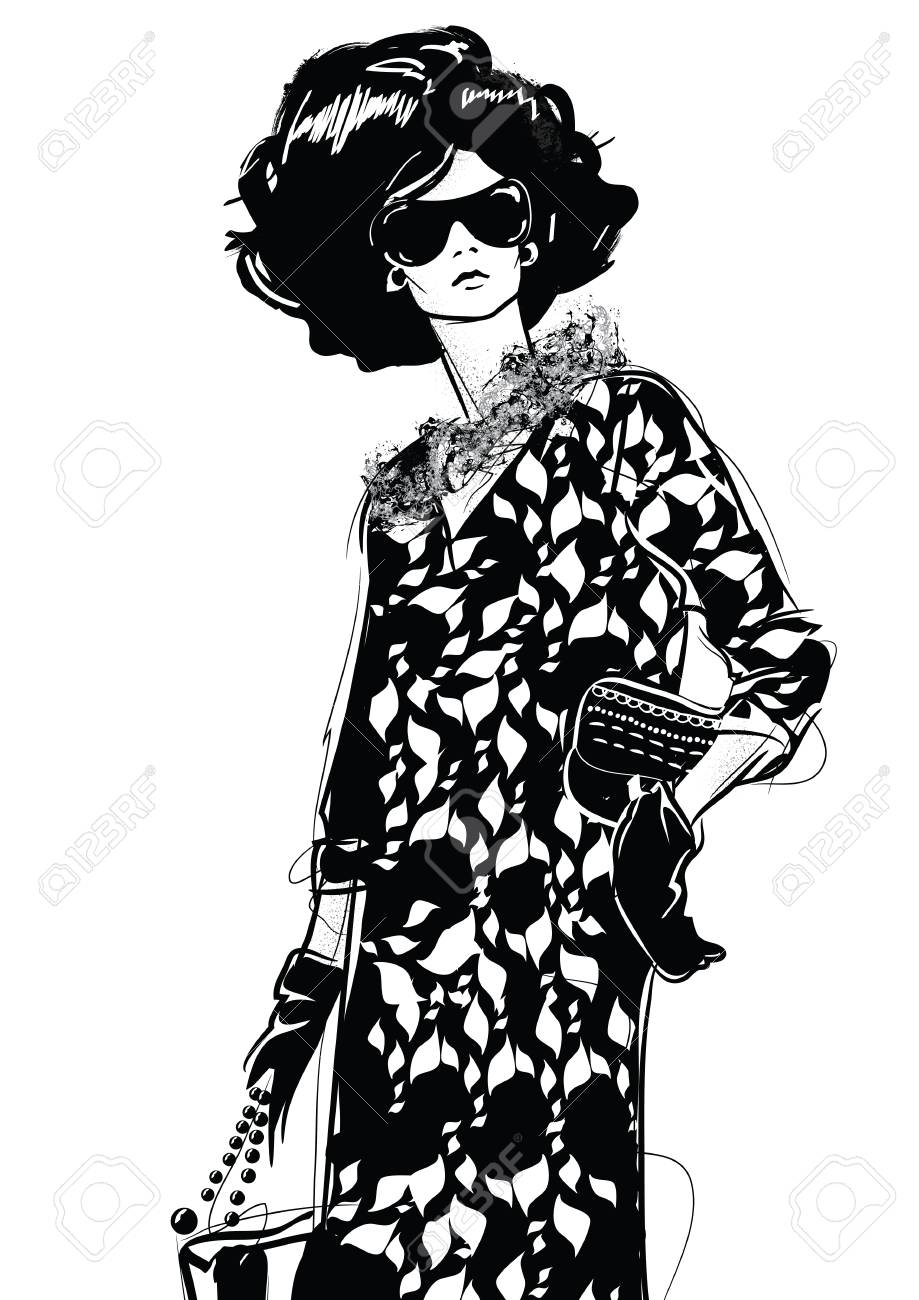 919x1300 Graphic Drawing Sketch With Woman. Royalty Free Cliparts, Vectors