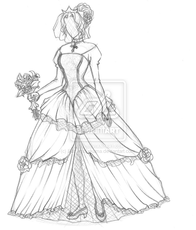 800x939 How To Draw A Wedding Dress For Beginners Drawing And Coloring