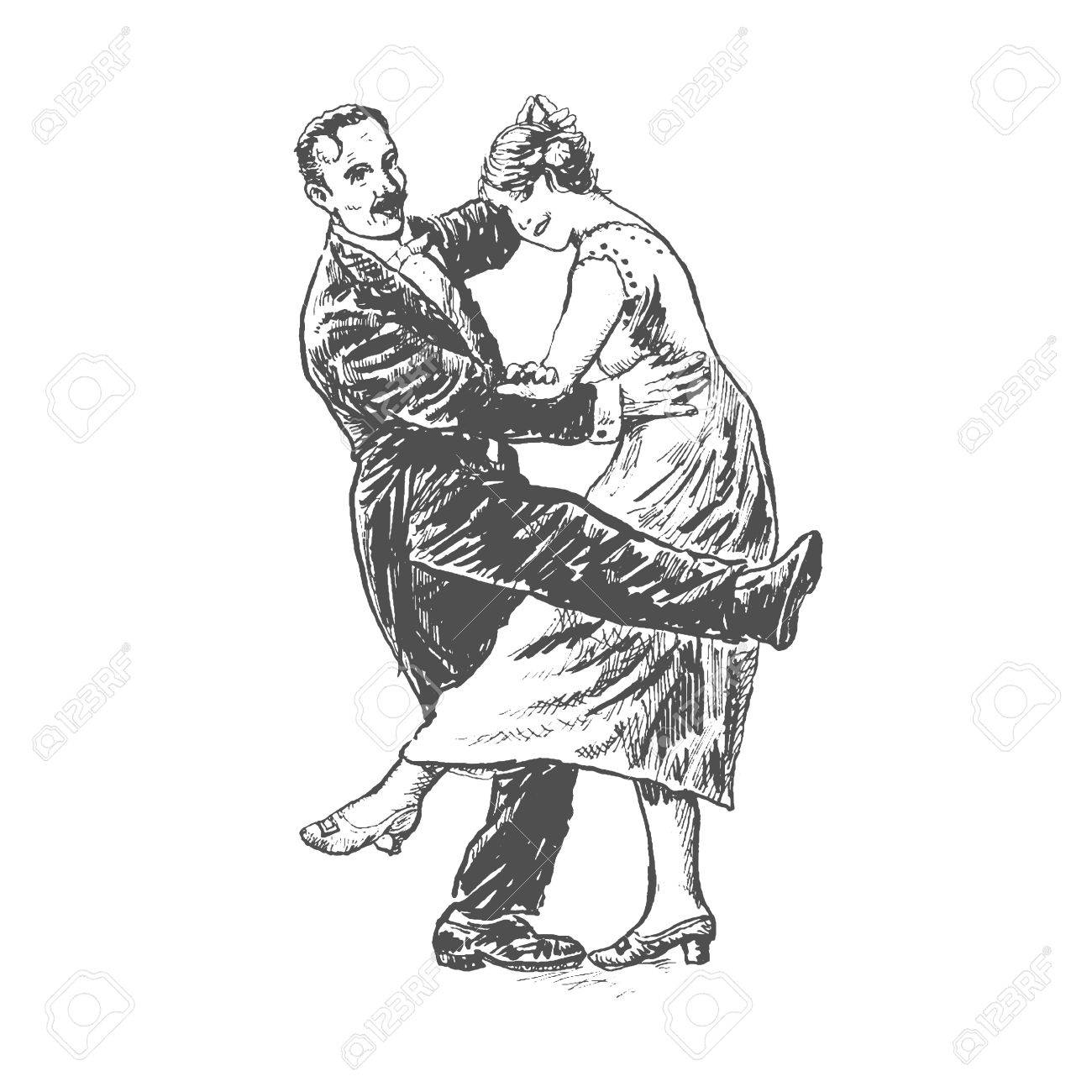 1300x1300 Private Dancers. Couple Dancing. Vintage Vector Lineart Engraving