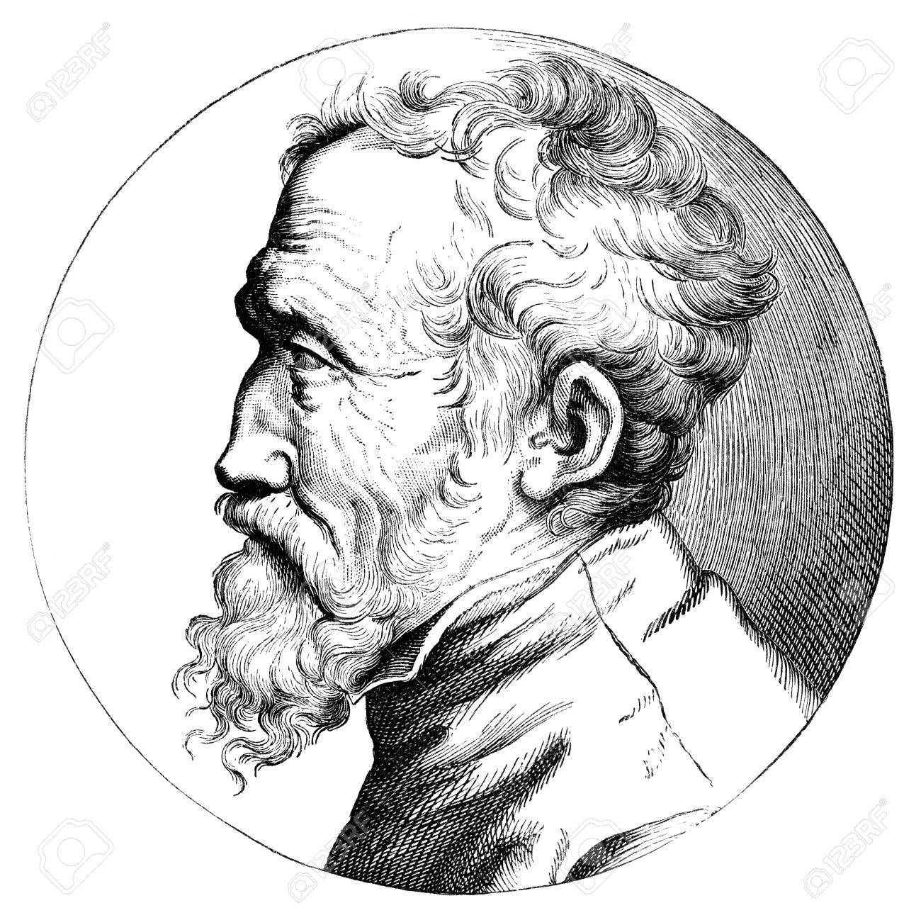1300x1298 An Engraved Illustration Drawing Of Michelangelo Artist, Painter