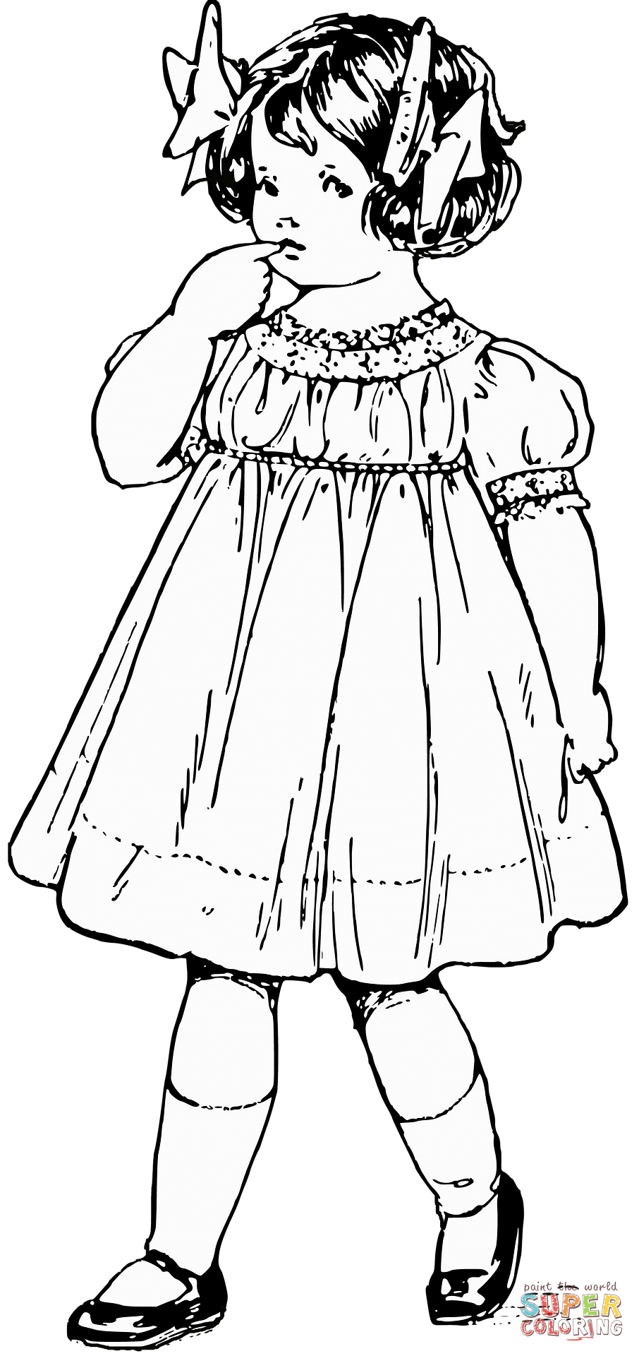 906x1920 Girl In Victorian Dress Coloring Page Free Printable Coloring Pages