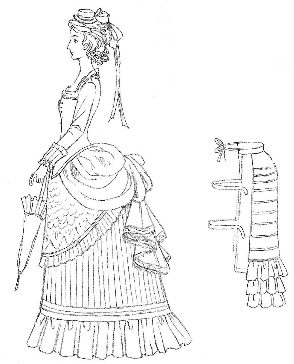 983x1217 Later Victorian Dress And Bustle Drawing Victoriana (1837