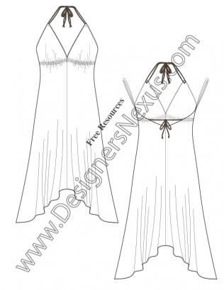 316x409 V54 Handkerchief Hem Halter Dress Flat Fashion Sketch Dress