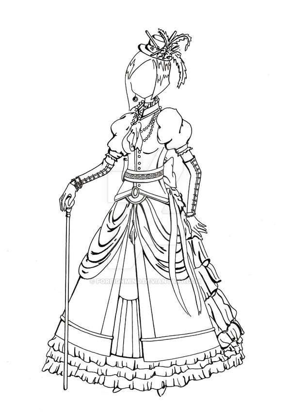 600x859 Victorian Dress Lineart By Foreignmind