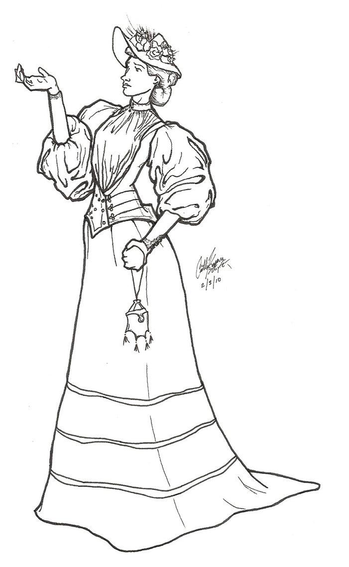701x1139 Victorian Woman Day Dress By Estel