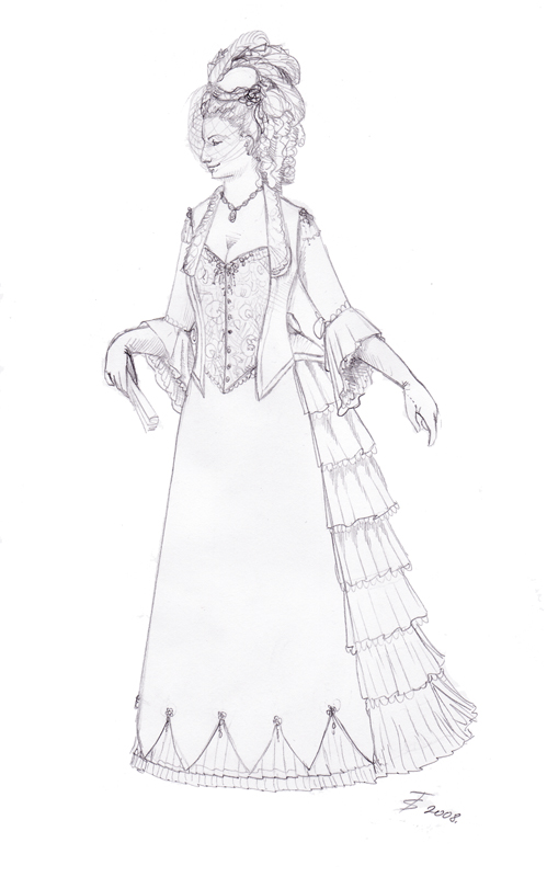 499x800 Victorian Gown Sketch By Azdaja
