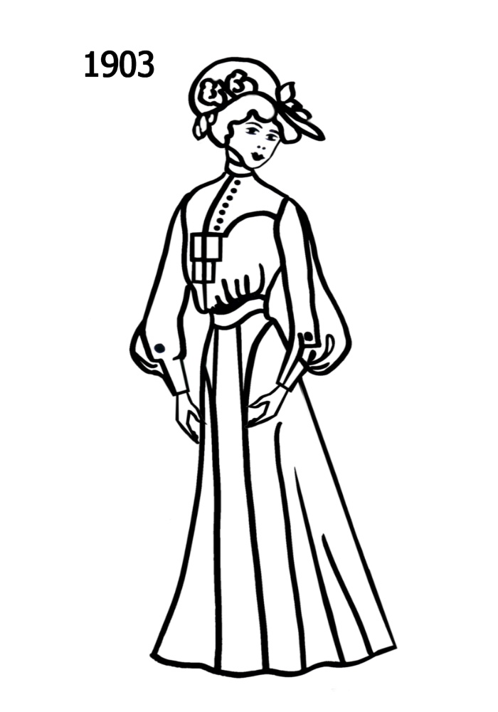 700x1000 Costume Silhouettes 1900 1910 Free Line Drawings