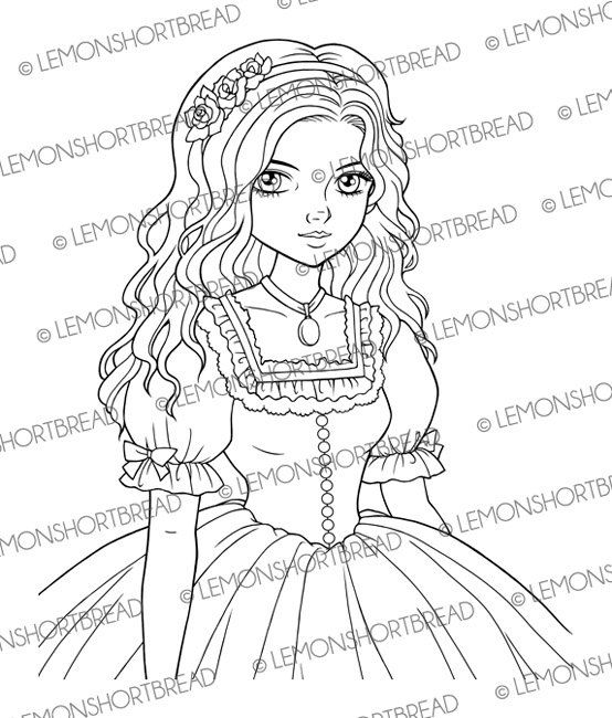 554x650 Digital Stamp Belle Dress Girl Digi Digistamp Shoujo Anime Retro