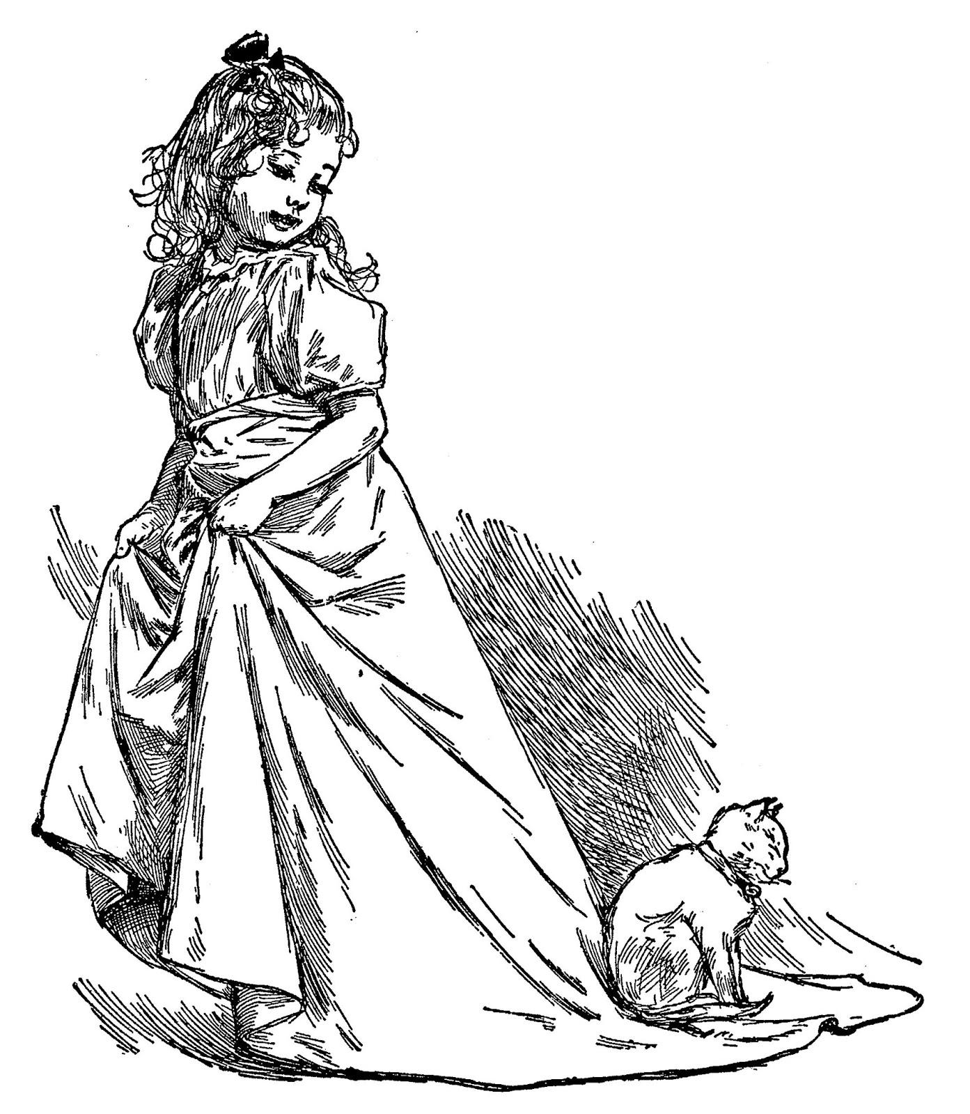 1393x1600 Digital Stamp Design Royalty Free Victorian Girl Artwork Drawing