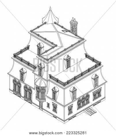 403x470 Old House Victorian Style. Vector Amp Photo Bigstock