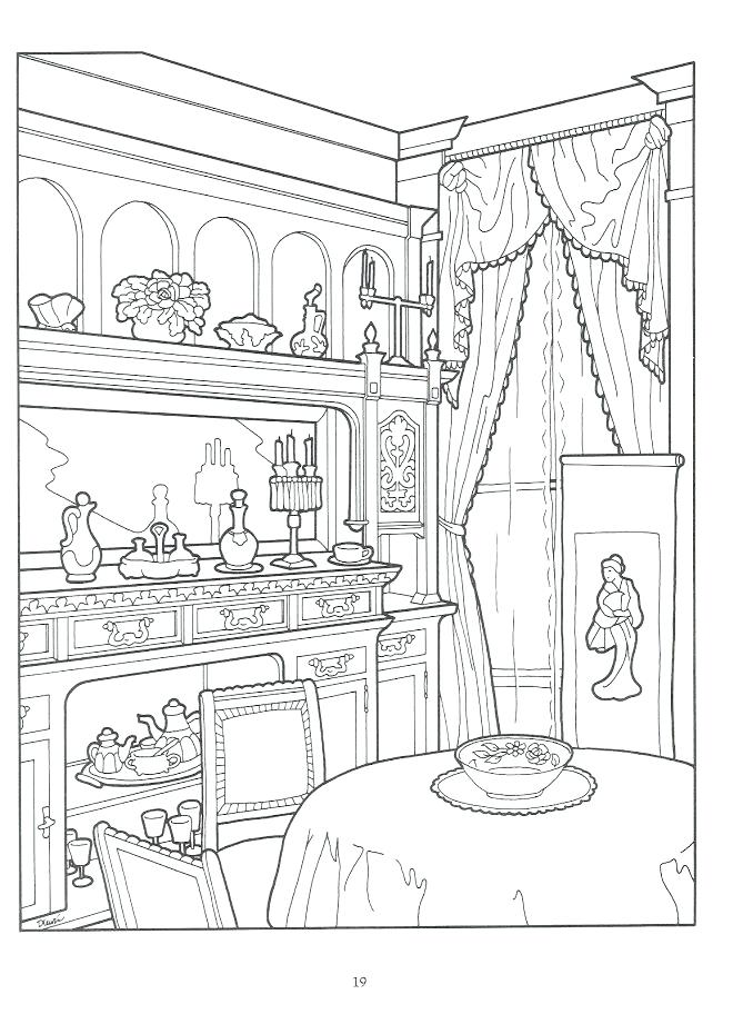669x912 Victorian Coloring Pages Dining Room In House Intricate Coloring