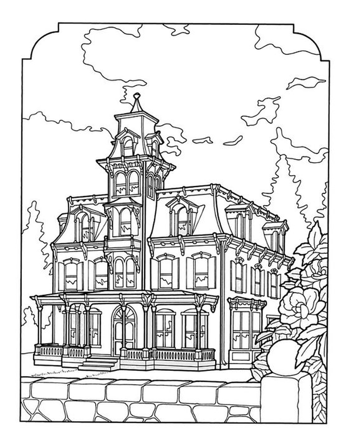 688x886 Victorian House Coloring Pages Adults Coloring Pages