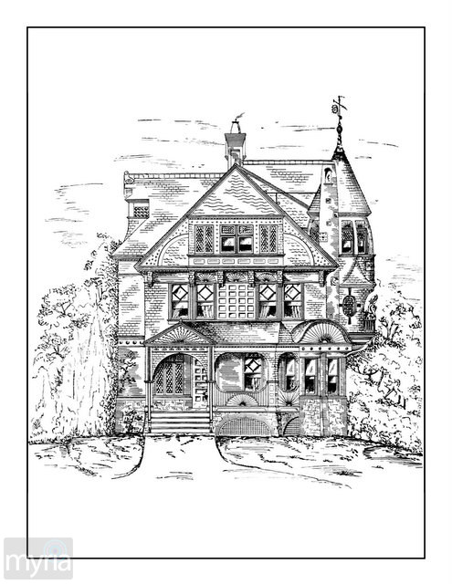 495x640 Vintage Homes Adult Coloring Book