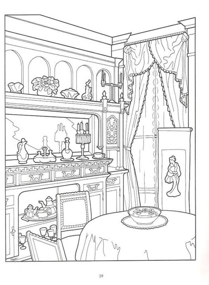 705x960 Dining Room In Victorian House Intricate Coloring Pages For Adults