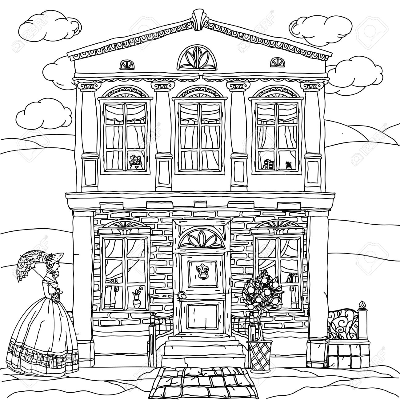 1300x1300 Contoured Black And White Victorian House With A Strolling Woman