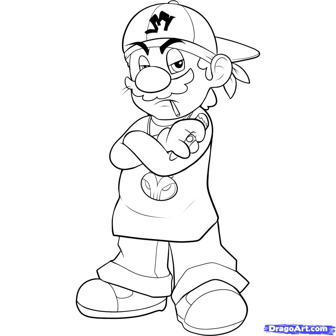 1103x1103 Graffiti Thug Character Drawing How To Draw Gangster Mario, Step