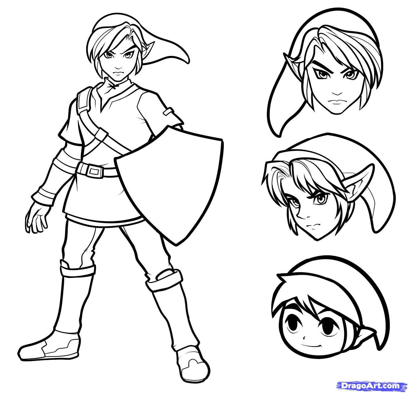 1349x1300 How To Draw Link Easy Step 9 Phots Game Character