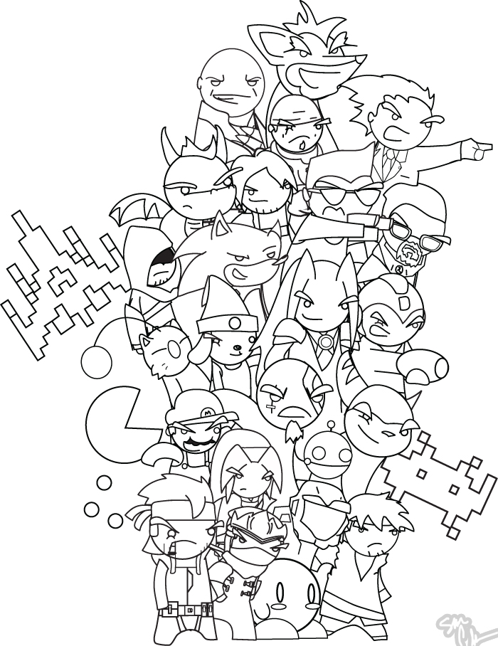 700x908 Video Game Characters Bw By The Lagz