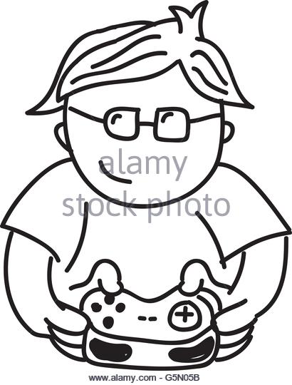 video games drawing at getdrawings free for personal use video Gaming PC 410x540 boy playing video game stock vector images