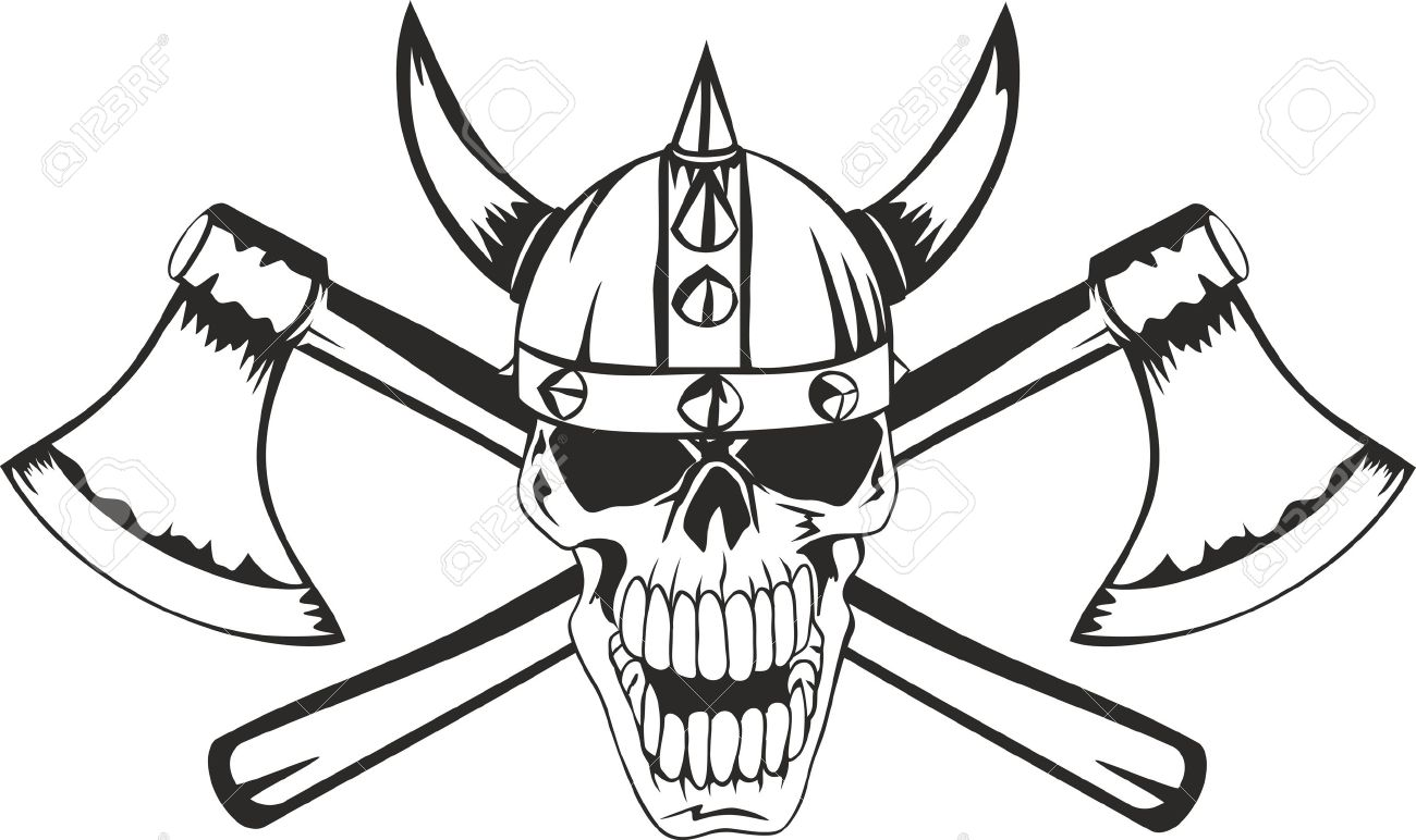 1300x772 Skull In A Helmet Of The Viking With The Crossed Axes Royalty Free