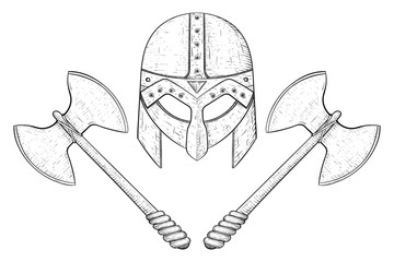 360x240 Viking Axes And Horned Helmet. Hand Drawn Sketch