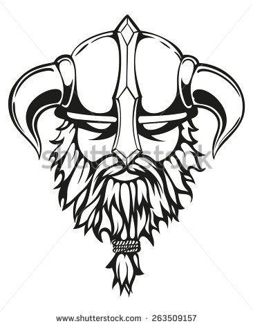 366x470 Stock Vector Brutal Viking Warrior Monochrome Contours