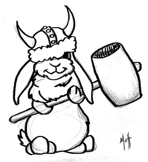 500x548 Just Silly Sketch Of Bunny In Silly Viking Hat Holding