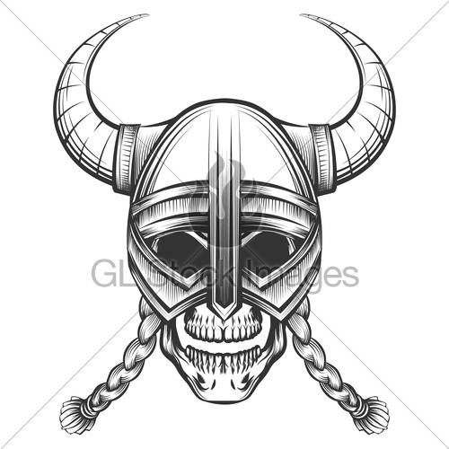 500x500 Skull In Viking Helmet Gl Stock Images