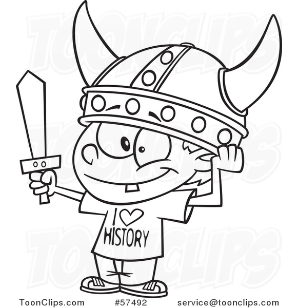 581x600 Cartoon Outline Of Boy Wearing A Viking Helmet And I Love History