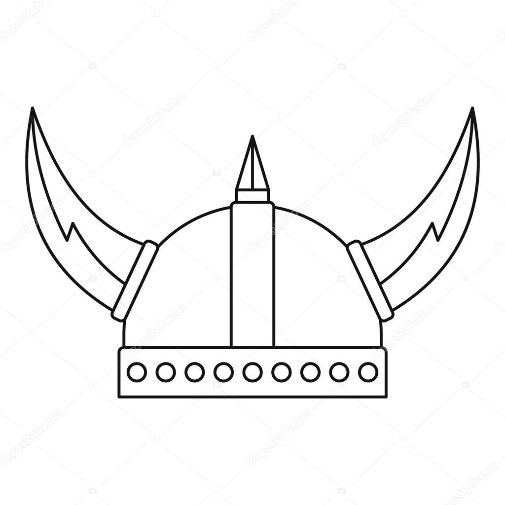 1024x1024 Viking Helmet Icon, Outline Style Stock Vector Ylivdesign