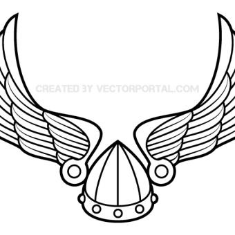 340x340 Winged Viking Helmet Vector Art 123freevectors