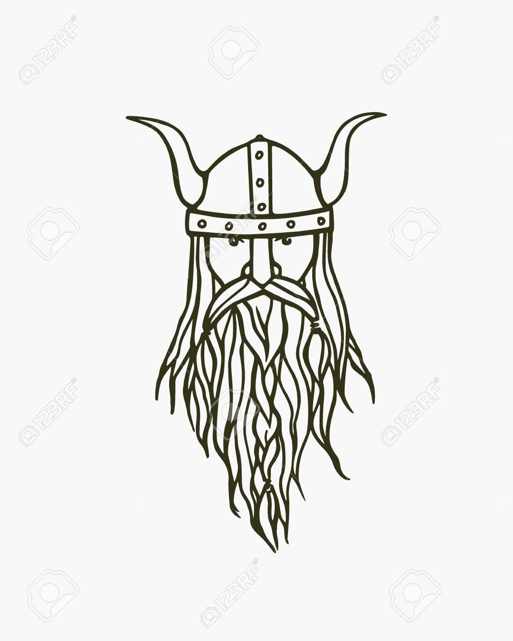 1040x1300 Hand Drawn Head Of Bearded Viking With Helmet On. Vector