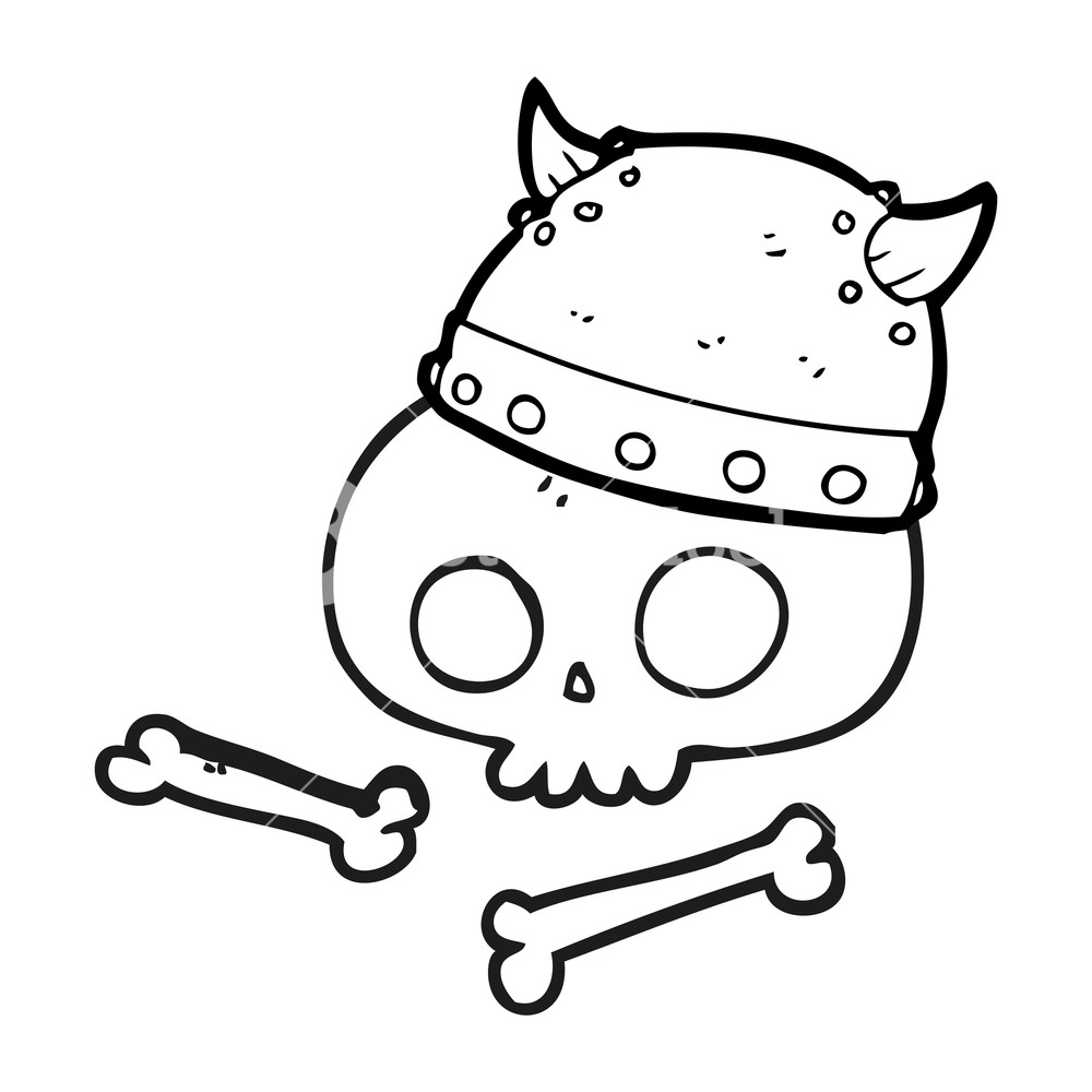 1000x1000 Freehand Drawn Black And White Cartoon Viking Helmet On Skull