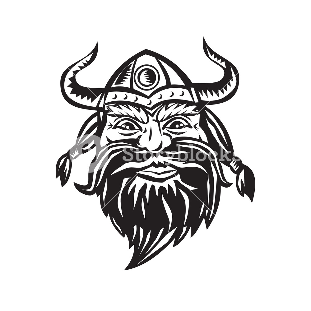 1000x1000 Black And White Illustration Of A Head Of A Norseman Viking