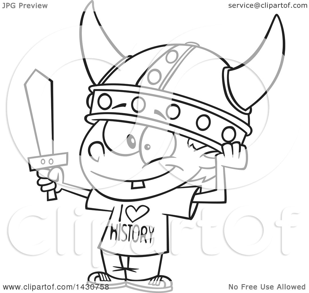 1080x1024 Clipart Of A Cartoon Black And White Lineart Boy Wearing A Viking