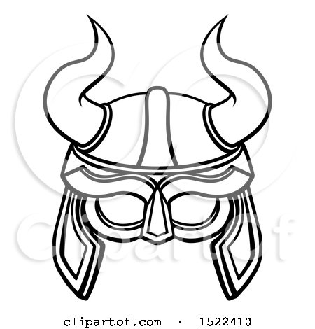 450x470 Clipart Of A Lineart Viking Warrior Helmet With Horns