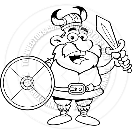 460x460 Cartoon Viking Holding A Shield And A Sword (Black Amp White Line