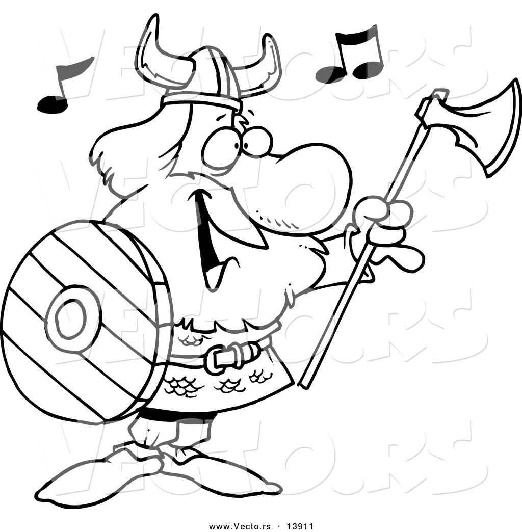 1024x1044 Vector Of A Cartoon Male Viking Holding An Ax Shield
