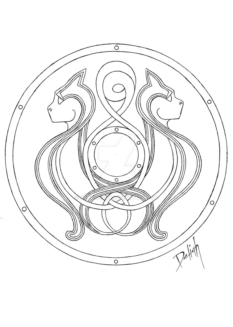 755x1059 Viking Shield Design Cats By Deliahsart