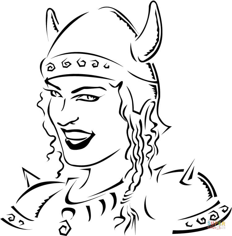 750x764 Viking With Ax And Shield Coloring Page Free Printable Coloring
