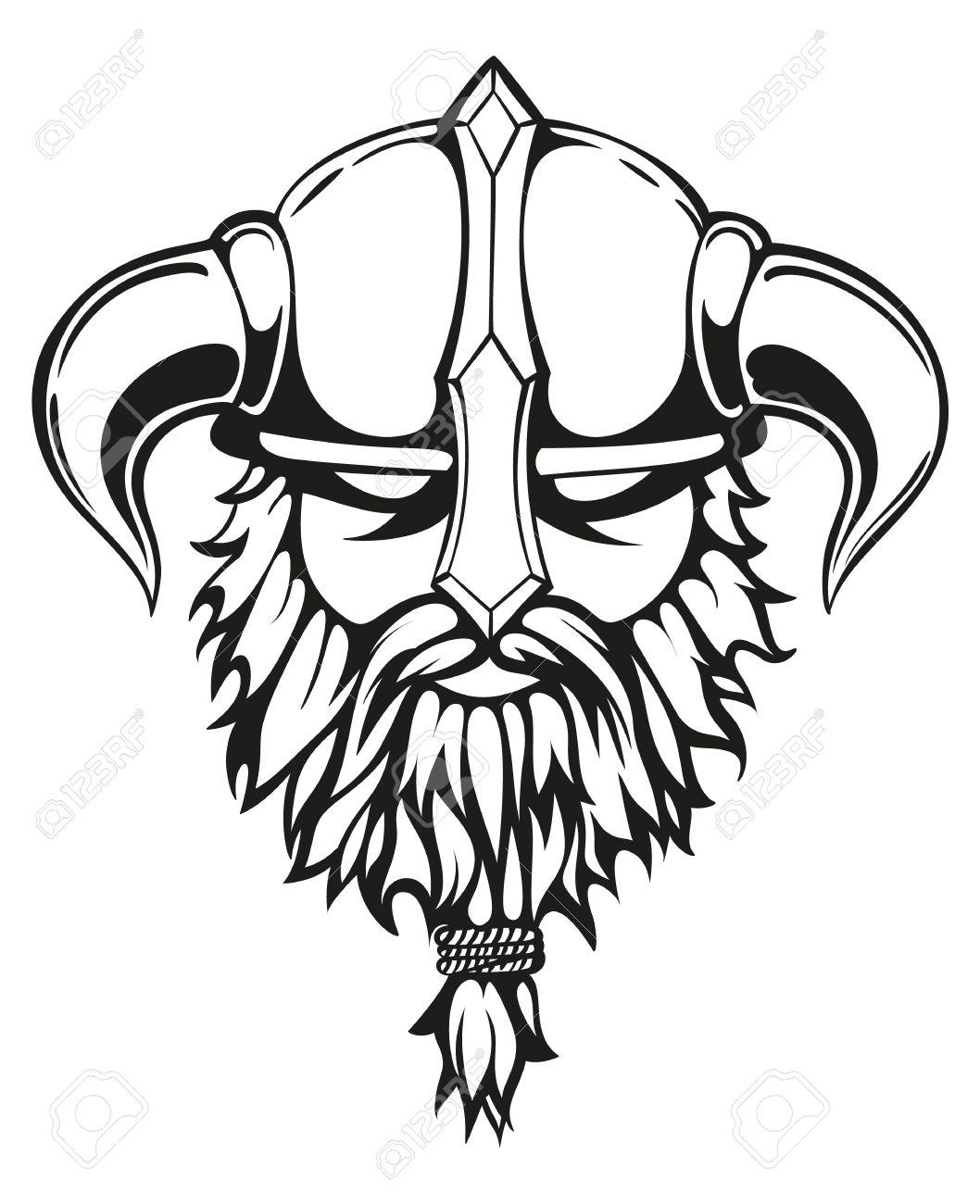 1058x1300 Brutal Viking Warrior Monochrome Contours Illustration. Viking