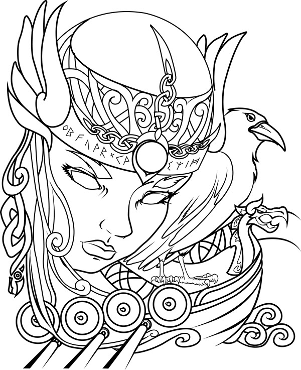 600x737 Drawings Of Valkyrie Designs Sketch Coloring Page Viking Woman
